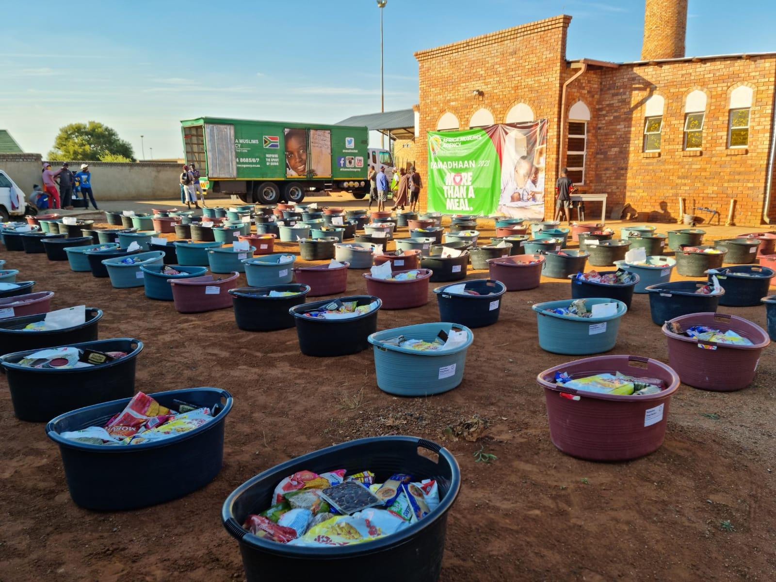 Food hampers lined up for distribution